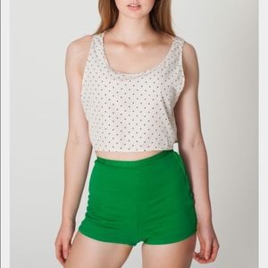 American Apparel High Waisted Tap Denim Shorts